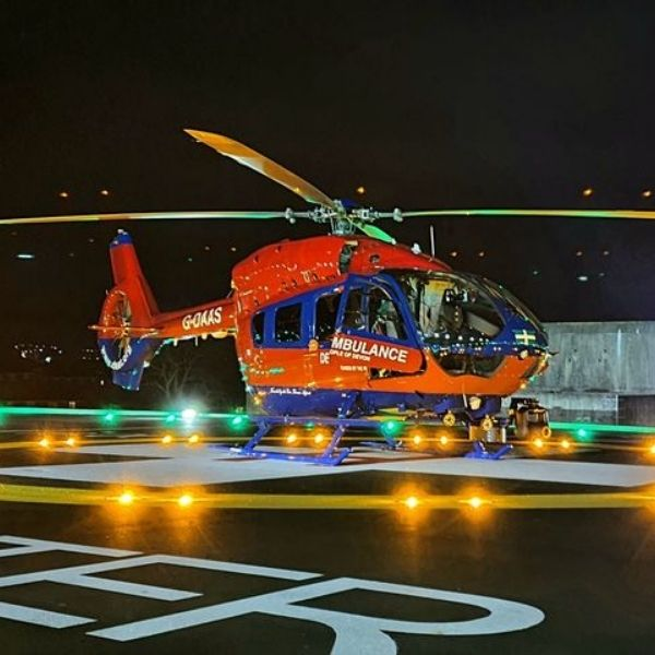 H145 aircraft landing at the RDE hospital